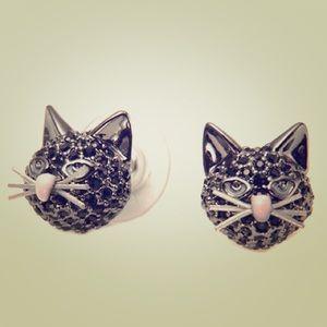 Kate spade Paved crystal cat earrings